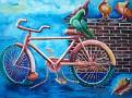 """Bicyclette avec chaine cassée 24"""" X 36"""" Huile sur canvas."""