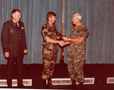 E. Ray Austin receiving Plaque from Post Commander, Ft Campbell KY