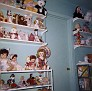 Debra Munn's shelves of toys, bedroom, Rusk Street, Amarillo, Texas, 1961
