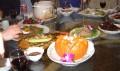 Pumpkin Soup, tongue, fish, beef, cucumbers