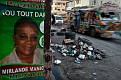 A poster of Haiti's presidential candidate Mirlande Manigat is seen in downtown Port-au-Prince