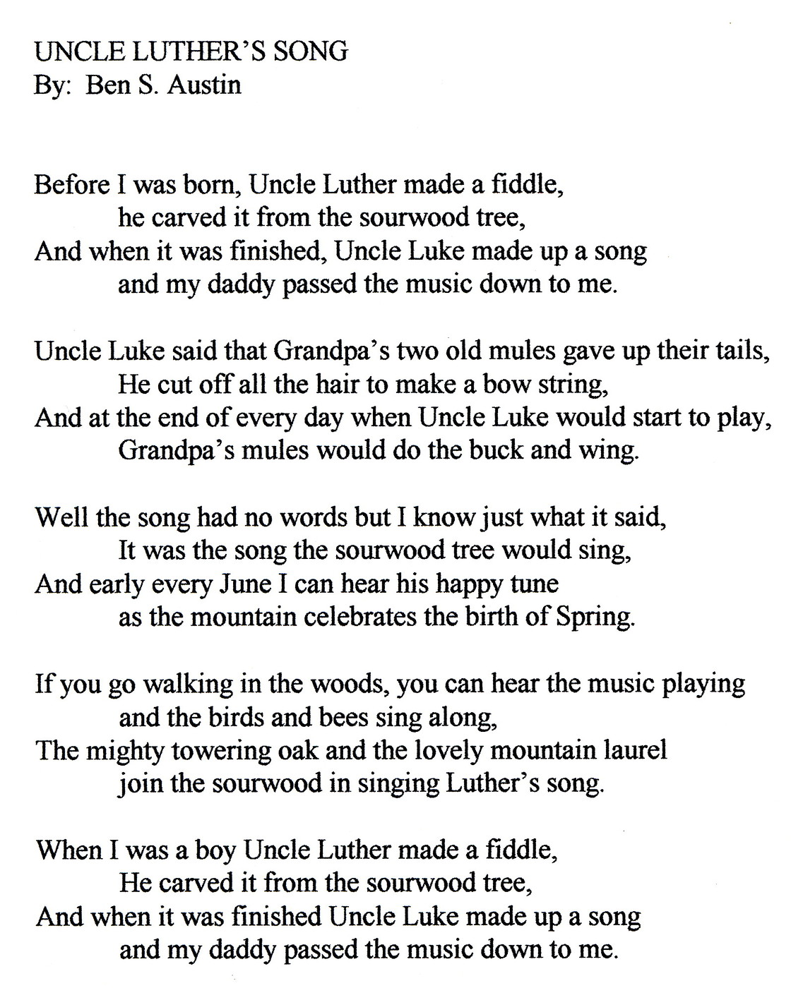 """Luther's Song"" written by his nephew, Benjamin Snell Austin"