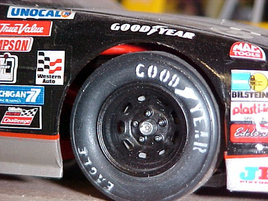 Finished wheel and tire on the car.