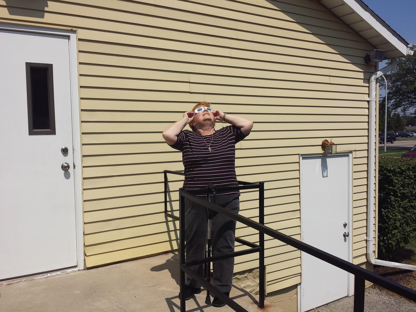 Linda looking at total solar eclipse