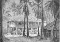 Une habitation à Port-au-Prince, dessin par G. Vuillier.