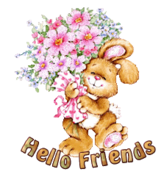 Hello Friends - BunnyWithFlowers