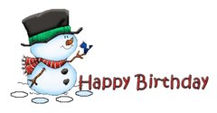 Happy Birthday - Snowman&Bird