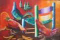 """Trois coqs 24"""" x  36"""". Huile sur canvas."""