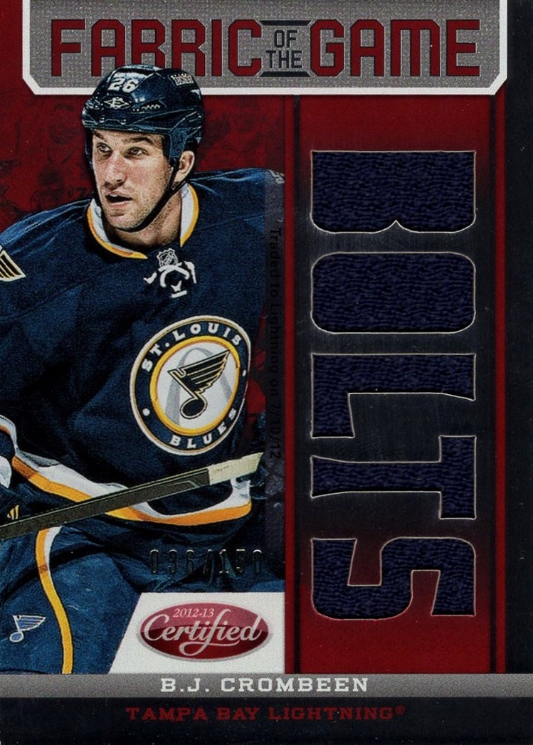 2012-13 Certified Fabric of the Game Team B J  Crombeen (1)