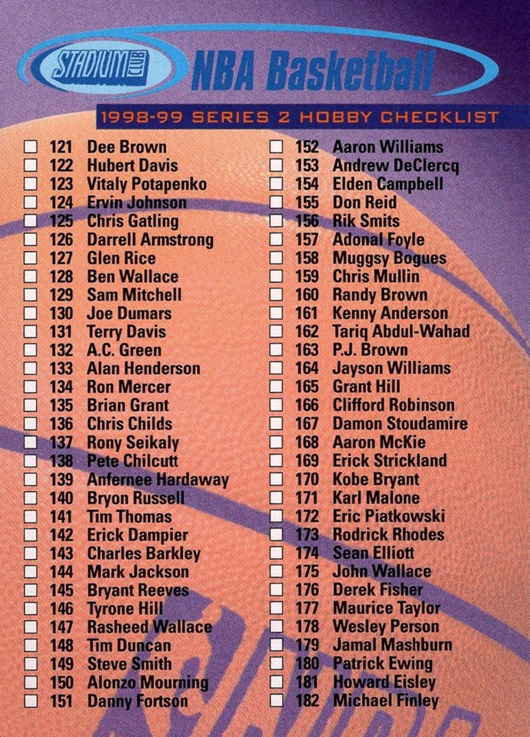 1998-99 Stadium Club 2 Checklist #H1 (1)