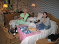 Bon Appetite...  The picnic spread in our room!!!  Bagets, tomatoes, different kinds of cheese, salt/pepper, yogurt, water and wine.