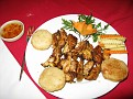 Dinner at the Thien Thai Hotel in Hanoi, Vietnam / Roasted chicken and sticky rice $8.50 USD.  A good price.