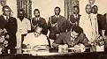 Le président du Liberia et Jean Claude Duvalier.