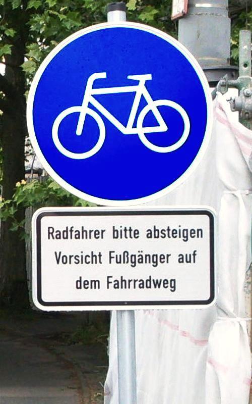 Radweg nur für Fußgänger!
