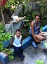 At my Homestay...  the daughter in law, Ligia and son Miguel... and family rabbit...
