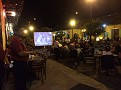Catching a dinner with Anthony in Granada, Nicaragua. Outdoor sidewalk seating.  Super Bowl on big portable screens everywhere!!!
