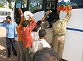 Getting back on the bus is not easy.  Dozens of friendly but very eager and persistant hawkers to make a path through.