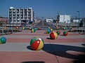 Cement Beach Balls...  don't kick them,,, ouch...