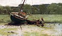 Salt Marsh Landscape with Two Children near a Beached Sailboat and Dory [1881]