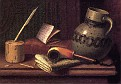 Still Life with Inkwell, Book, Pipe and Stoneware Jug [1880]