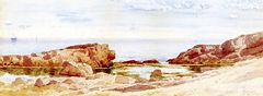 Rocky Shoreline with Sailboats Offshore [undated]