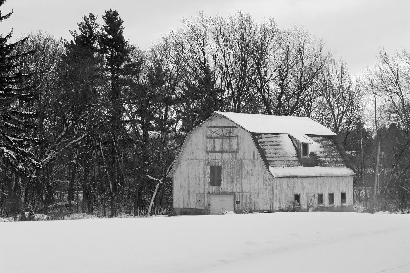 White Winter Barn (Black and White)