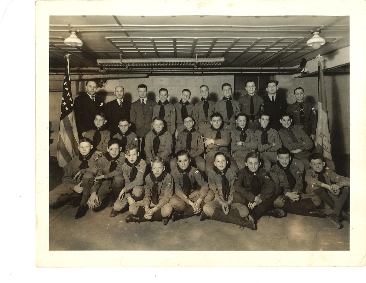 Dad with his Boy Scout Troop Number 240, St. Juliana's Parish, Detroit, Michigan. 1941