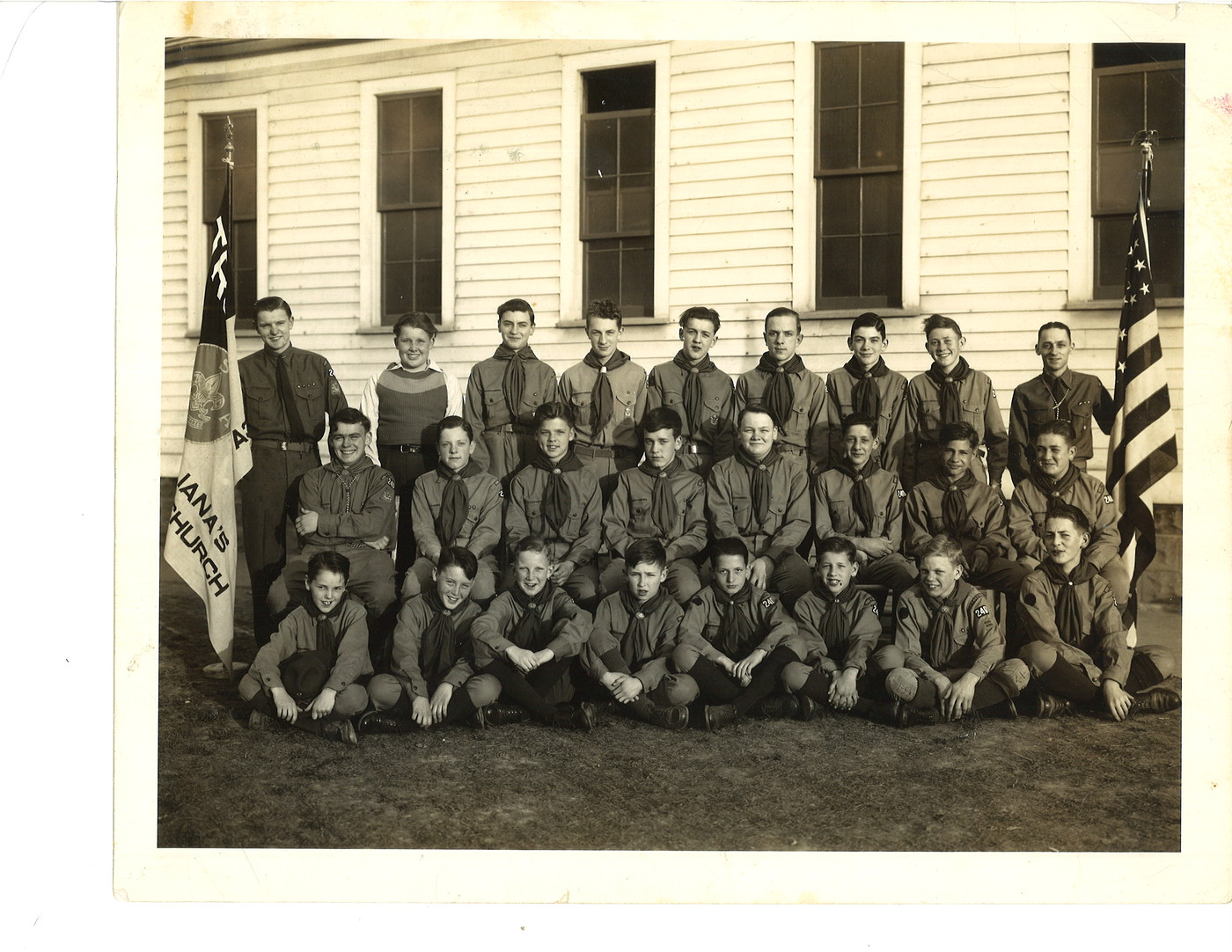 Dad with his Boy Scout Troop Number 240, St. Juliana's Parish, Detroit, Michigan. 1942?