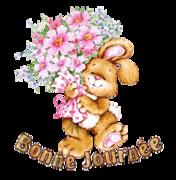 Bonne Journee - BunnyWithFlowers