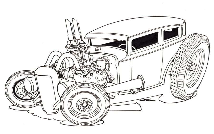 Jpg To Line Drawing : Photo chris a sedan line drawing g rat fink tiki