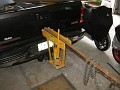 """I took my 12 ton pipe bender and welded a piece of 2"""" x 2"""" steel to the bottom, this would allow the pipe bender to be installed into the receiver hitch of my truck."""