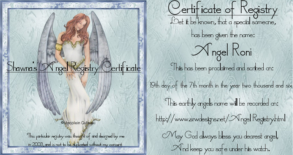 ANGELS/FAIRIES TAGS - Page 2 AngelRegistryRONI-vi