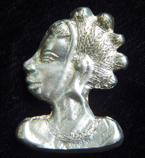 Vintage African-American Woman With Bantu Knots Sterling Silver Pendant