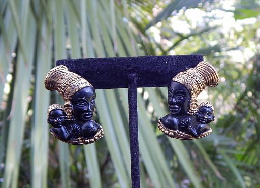Vintage African Mother and Child Gold-Tone & Matte Black Earrings