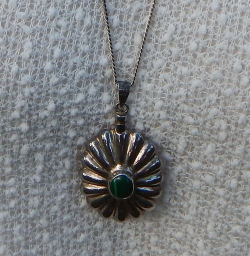 Vintage Mexico Art Deco Malachite & Sterling Silver Perfume Pendant with Necklace