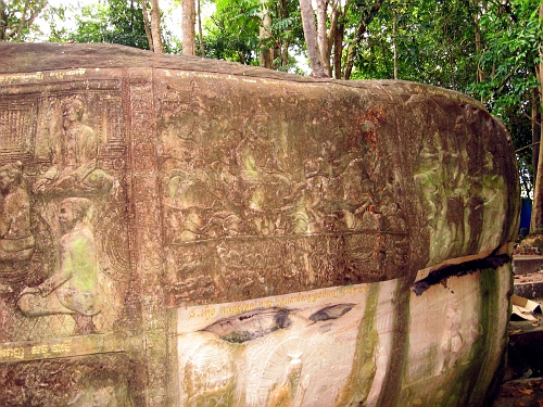 Carved reliefs, depicting Buddhist stories