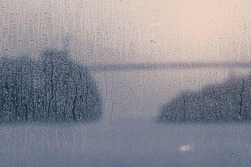 Wet window, rainy weather