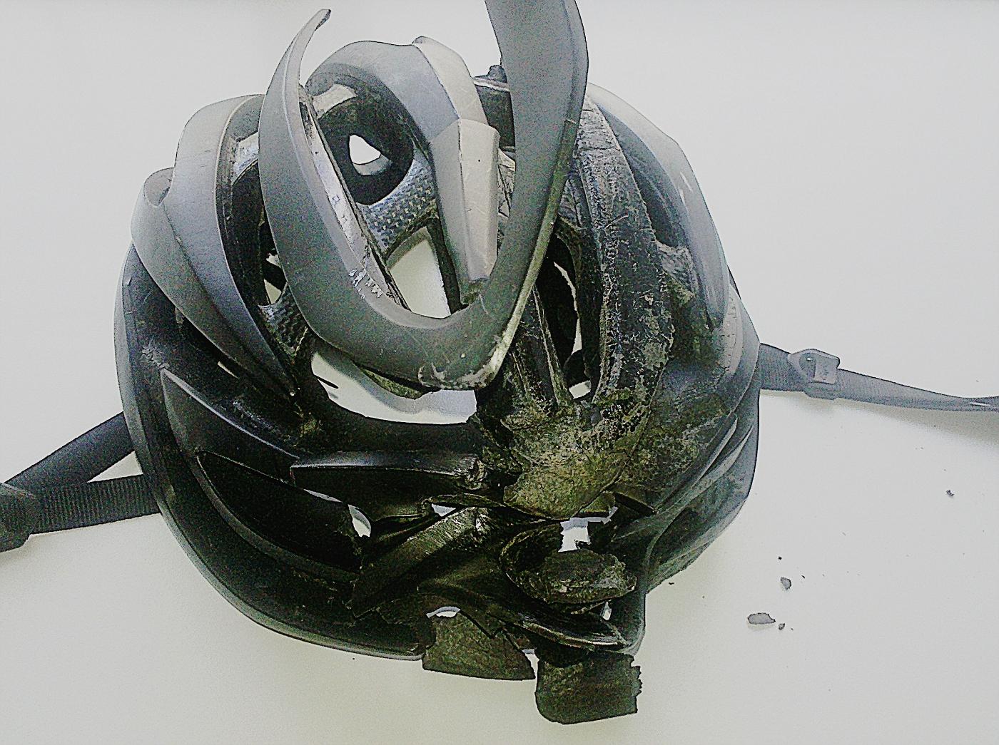 Manfred's broken helmet