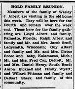 Albert family reunion - Enquirer Thu Jul 4 1929