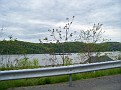 Barge on the Hudson River headed North, taken while driving south on Route 9 in Poughkeepsie on 5/8/11