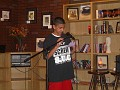 Cody V reading a poem he wrote on the spot