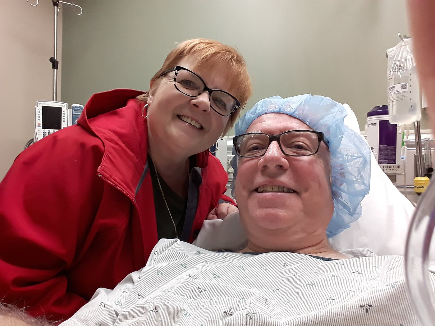 with Linda before surgery